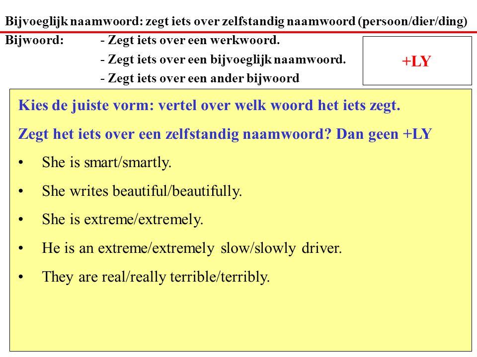 Bijvoeglijk naamwoord: zegt iets over zelfstandig naamwoord (persoon/dier/ding) Bijwoord: - Zegt iets over een werkwoord.