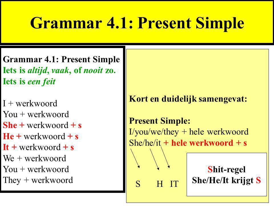 Kort en duidelijk samengevat: Present Simple: I/you/we/they + hele werkwoord She/he/it + hele werkwoord + s Grammar 4.1: Present Simple Iets is altijd, vaak, of nooit zo.