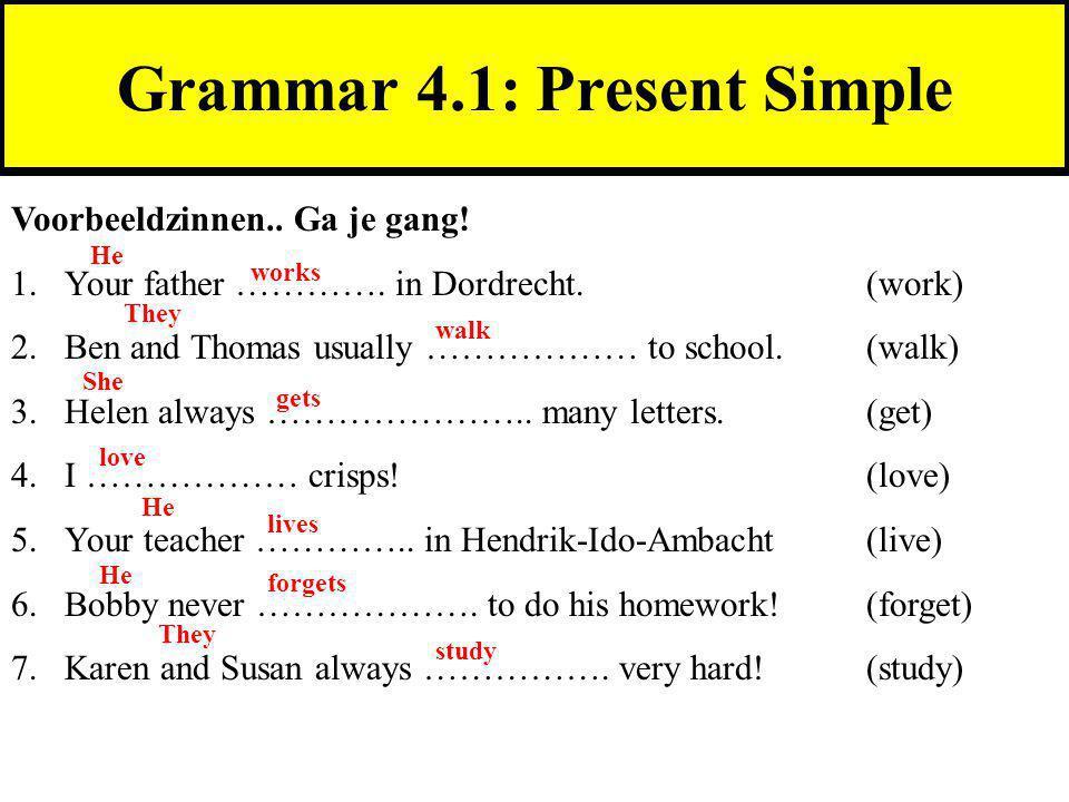 Grammar 4.1: Present Simple Voorbeeldzinnen..Ga je gang.