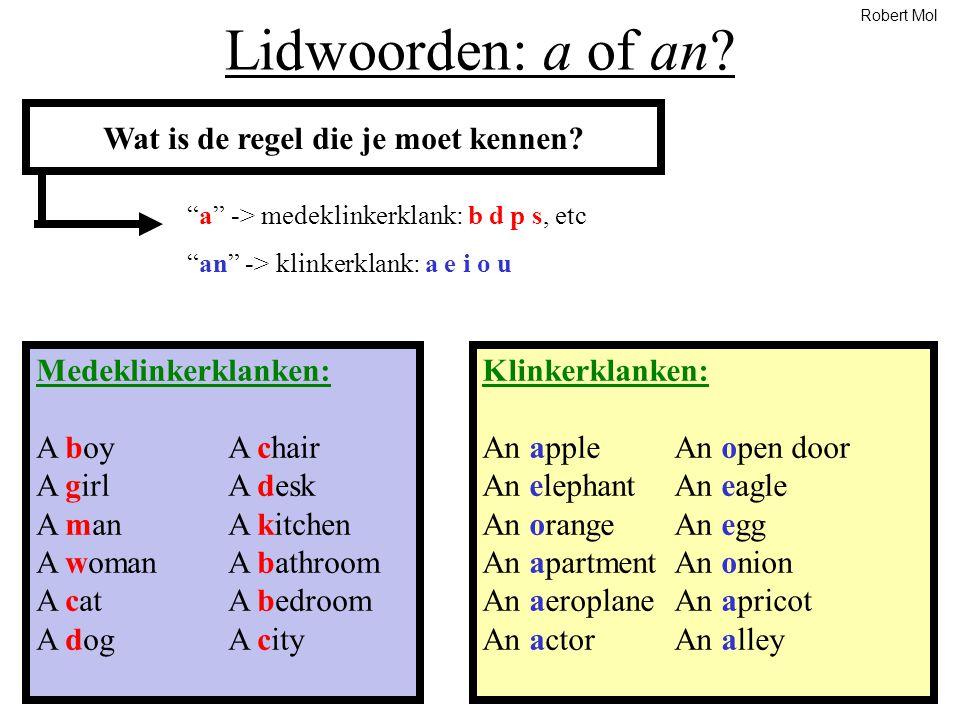 """Lidwoorden: a of an? Wat is de regel die je moet kennen? """"a"""" -> medeklinkerklank: b d p s, etc """"an"""" -> klinkerklank: a e i o u Medeklinkerklanken: A b"""