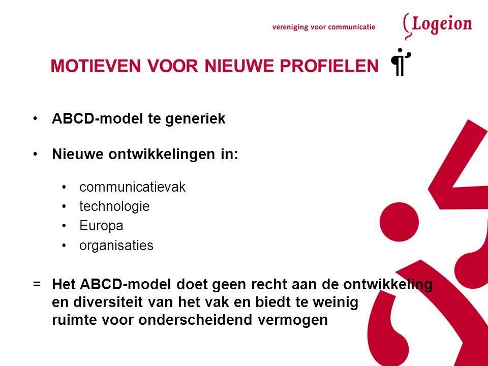 MOTIEVEN VOOR NIEUWE PROFIELEN ABCD-model te generiek Nieuwe ontwikkelingen in: communicatievak technologie Europa organisaties =Het ABCD-model doet g