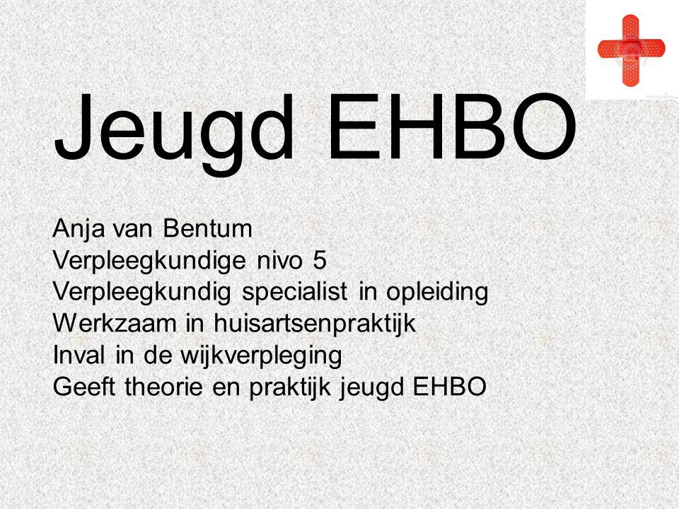 Jeugd EHBO Anja van Bentum Verpleegkundige nivo 5 Verpleegkundig specialist in opleiding Werkzaam in huisartsenpraktijk Inval in de wijkverpleging Gee