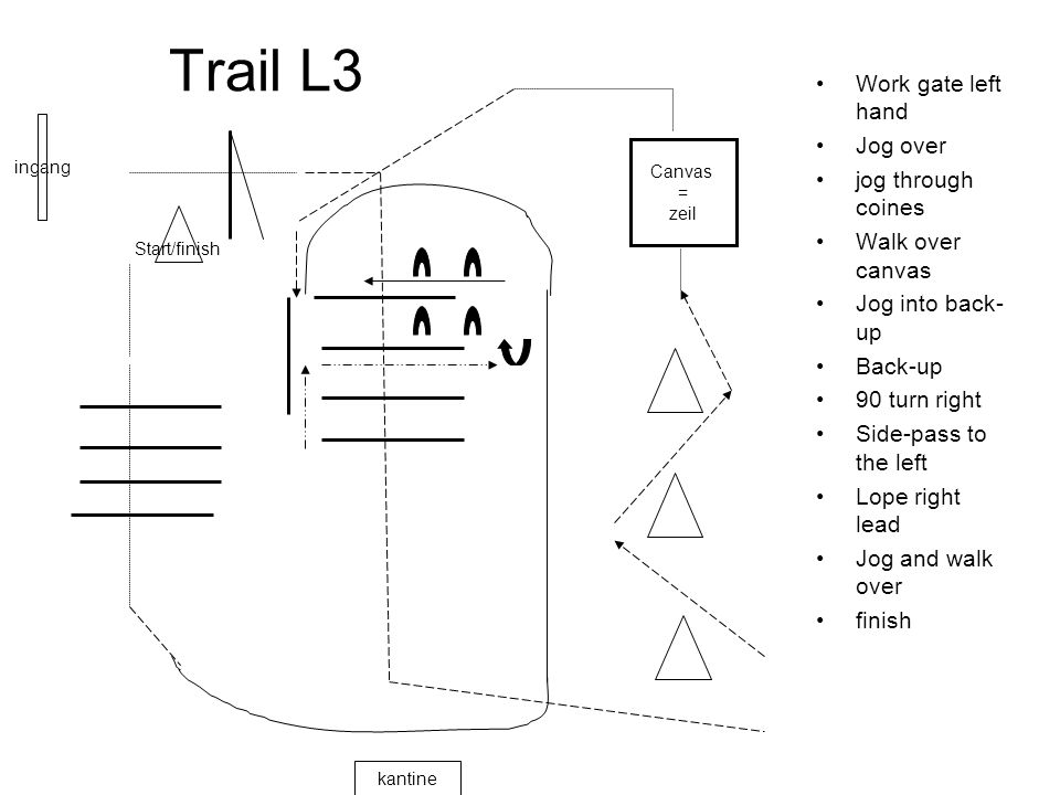 Trail L3 Work gate left hand Jog over jog through coines Walk over canvas Jog into back- up Back-up 90 turn right Side-pass to the left Lope right lead Jog and walk over finish ingang kantine Start/finish Canvas = zeil