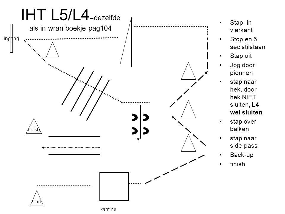 IHT L5/L4 =dezelfde als in wran boekje pag104 Stap in vierkant Stop en 5 sec stilstaan Stap uit Jog door pionnen stap naar hek, door hek NIET sluiten, L4 wel sluiten stap over balken stap naar side-pass Back-up finish kantine start ingang finish