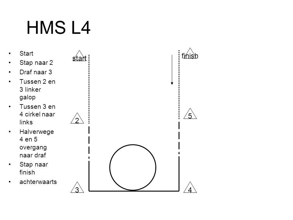HMS L4 Start Stap naar 2 Draf naar 3 Tussen 2 en 3 linker galop Tussen 3 en 4 cirkel naar links Halverwege 4 en 5 overgang naar draf Stap naar finish achterwaarts start 2 finish 5 43
