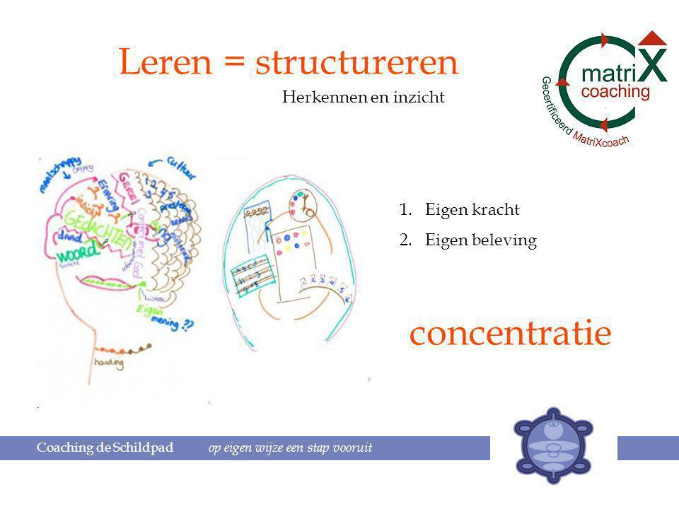 Coaching de Schildpad op eigen wijze een stap vooruit Leren = structureren Herkennen en inzicht 1.Eigen kracht 2.Eigen beleving concentratie