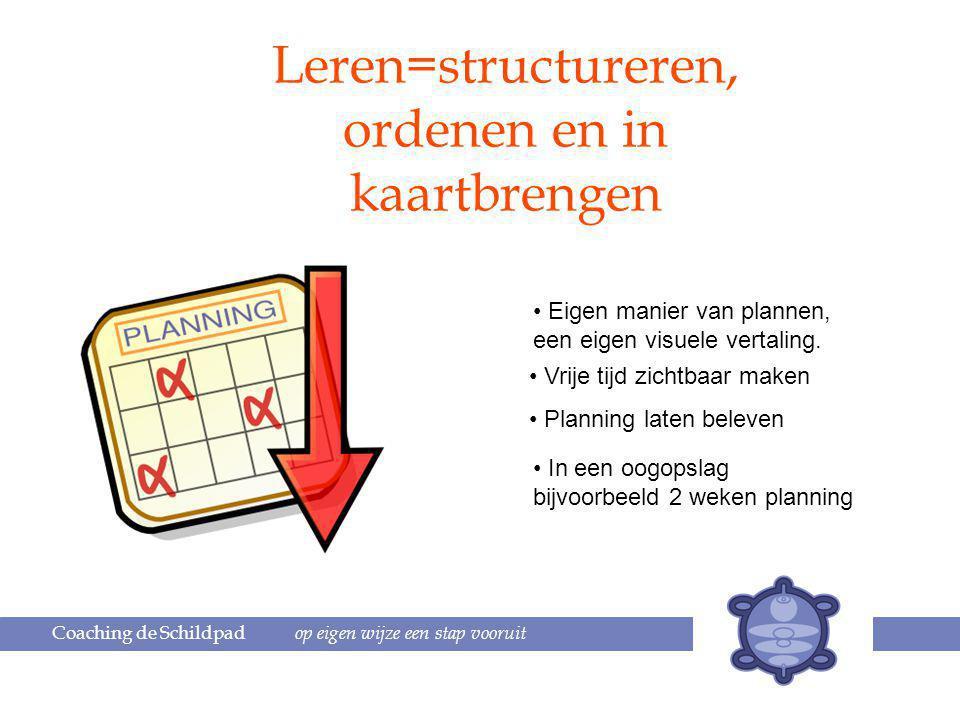 Coaching de Schildpad op eigen wijze een stap vooruit Leren=structureren, ordenen en in kaartbrengen Eigen manier van plannen, een eigen visuele vertaling.