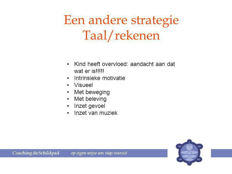 Coaching de Schildpad op eigen wijze een stap vooruit Een andere strategie Taal/rekenen Kind heeft overvloed: aandacht aan dat wat er is!!!!.