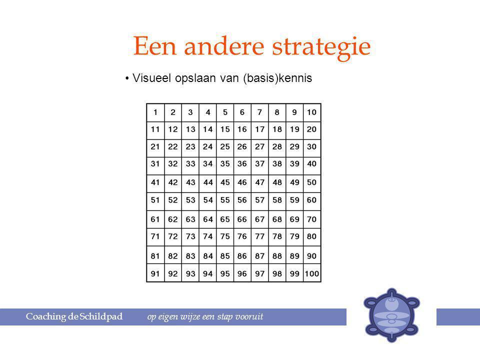 Coaching de Schildpad op eigen wijze een stap vooruit Een andere strategie Visueel opslaan van (basis)kennis