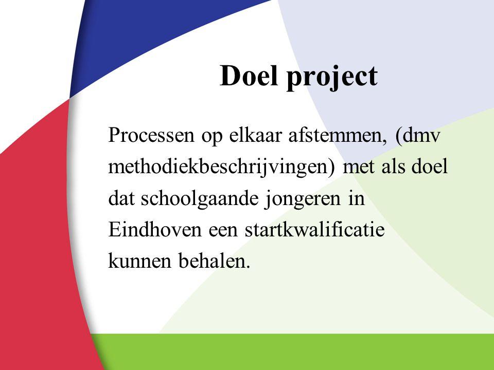 Doel project Processen op elkaar afstemmen, (dmv methodiekbeschrijvingen) met als doel dat schoolgaande jongeren in Eindhoven een startkwalificatie ku