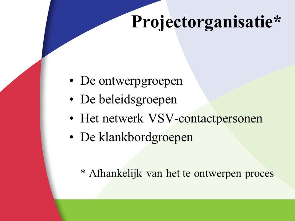 Projectorganisatie* De ontwerpgroepen De beleidsgroepen Het netwerk VSV-contactpersonen De klankbordgroepen * Afhankelijk van het te ontwerpen proces