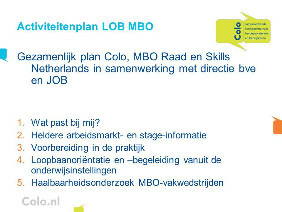 Activiteitenplan LOB MBO Gezamenlijk plan Colo, MBO Raad en Skills Netherlands in samenwerking met directie bve en JOB 1.Wat past bij mij? 2.Heldere a