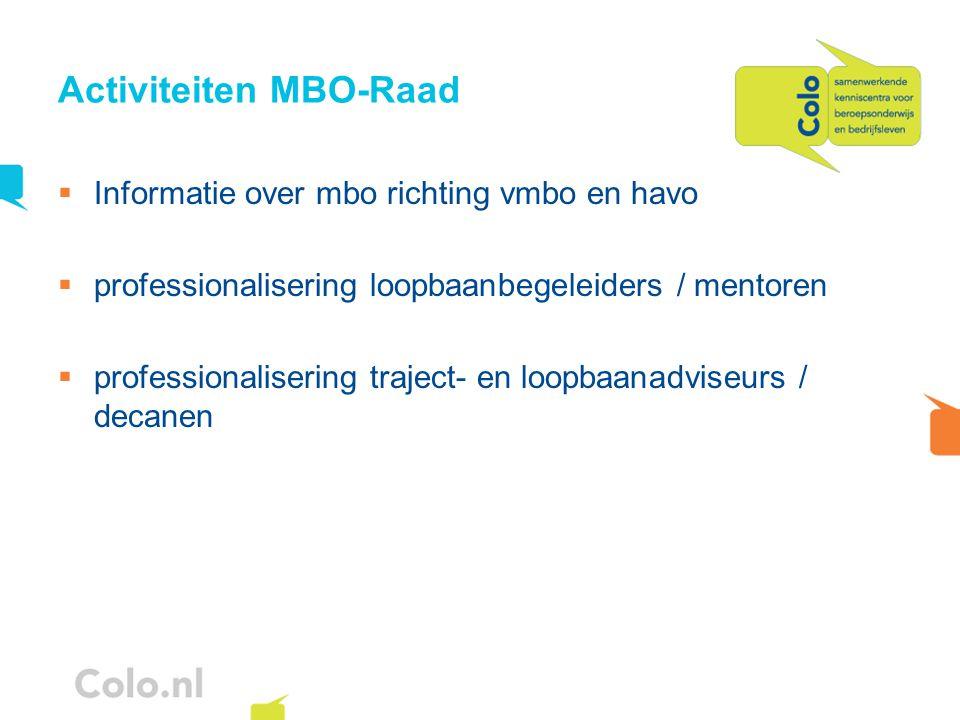 Activiteiten MBO-Raad  Informatie over mbo richting vmbo en havo  professionalisering loopbaanbegeleiders / mentoren  professionalisering traject- en loopbaanadviseurs / decanen