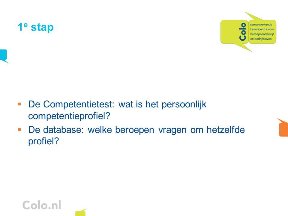 1 e stap  De Competentietest: wat is het persoonlijk competentieprofiel?  De database: welke beroepen vragen om hetzelfde profiel?
