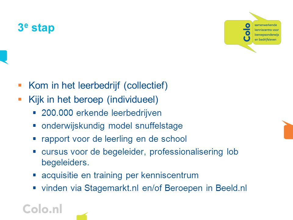 3 e stap  Kom in het leerbedrijf (collectief)  Kijk in het beroep (individueel)  200.000 erkende leerbedrijven  onderwijskundig model snuffelstage