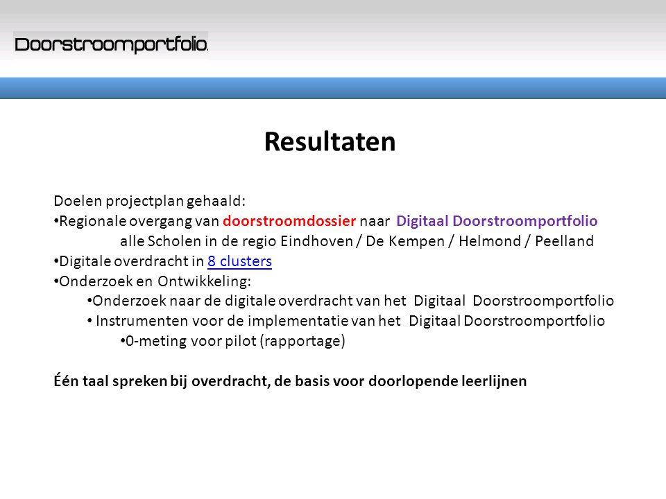 Doelen projectplan gehaald: Regionale overgang van doorstroomdossier naar Digitaal Doorstroomportfolio alle Scholen in de regio Eindhoven / De Kempen