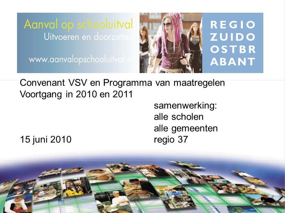 Convenant VSV en Programma van maatregelen Voortgang in 2010 en 2011 samenwerking: alle scholen alle gemeenten 15 juni 2010regio 37