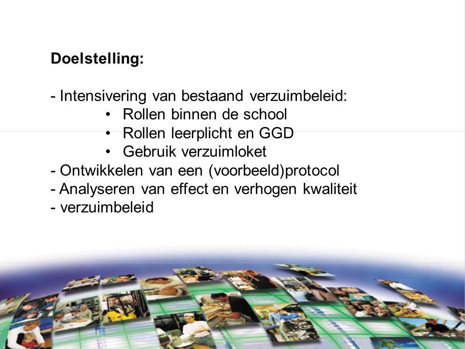 Doelstelling: - Intensivering van bestaand verzuimbeleid: Rollen binnen de school Rollen leerplicht en GGD Gebruik verzuimloket - Ontwikkelen van een (voorbeeld)protocol - Analyseren van effect en verhogen kwaliteit - verzuimbeleid