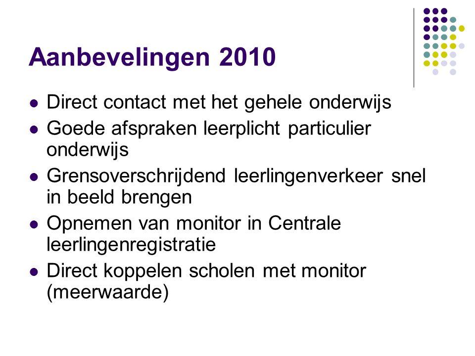 Aanbevelingen 2010 Direct contact met het gehele onderwijs Goede afspraken leerplicht particulier onderwijs Grensoverschrijdend leerlingenverkeer snel
