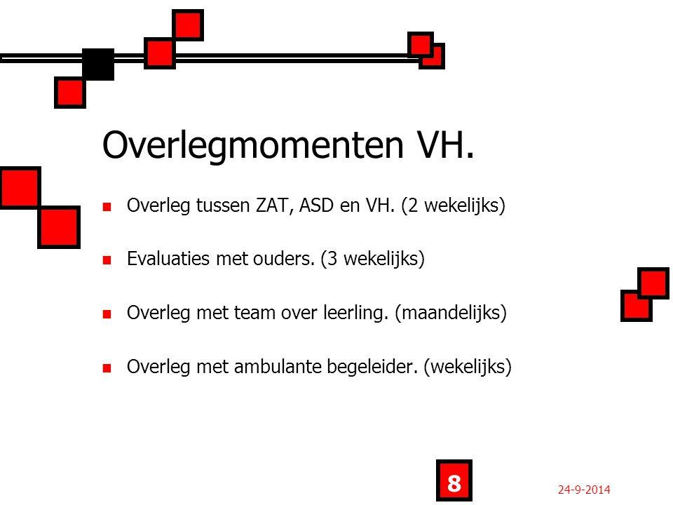 Overlegmomenten VH. Overleg tussen ZAT, ASD en VH.