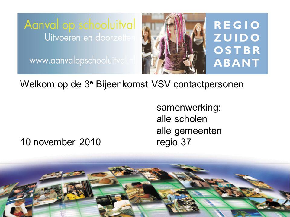 Welkom op de 3 e Bijeenkomst VSV contactpersonen samenwerking: alle scholen alle gemeenten 10 november 2010regio 37