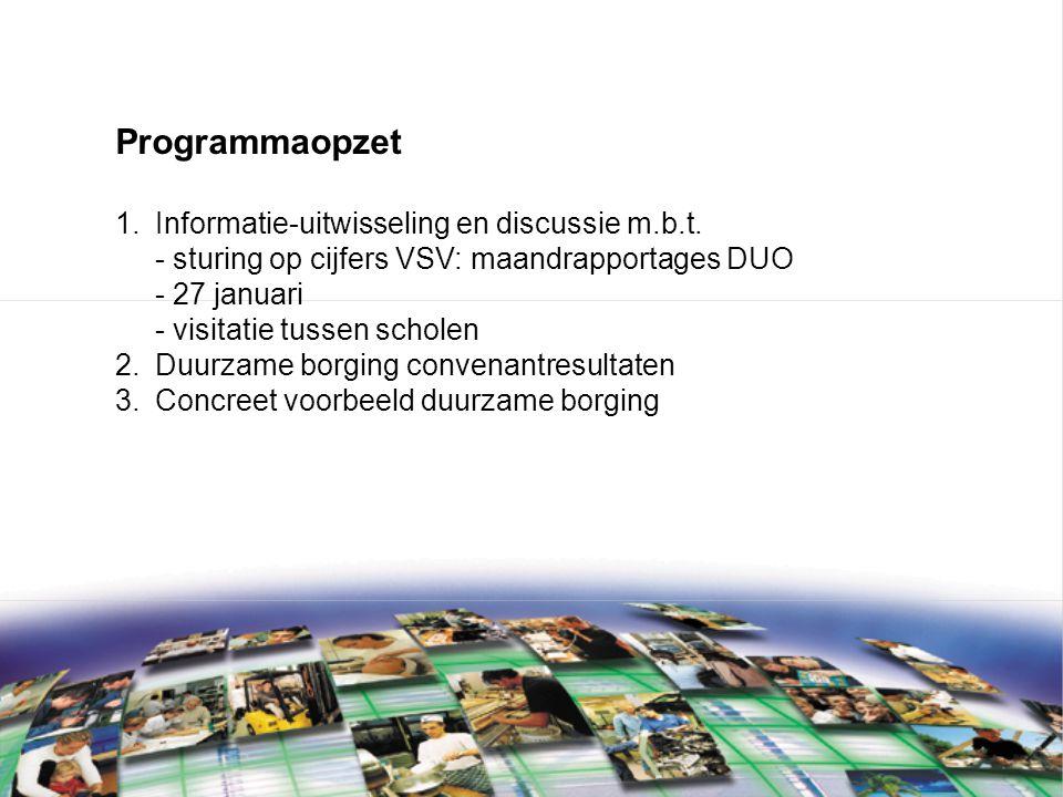 Programmaopzet 1.Informatie-uitwisseling en discussie m.b.t.