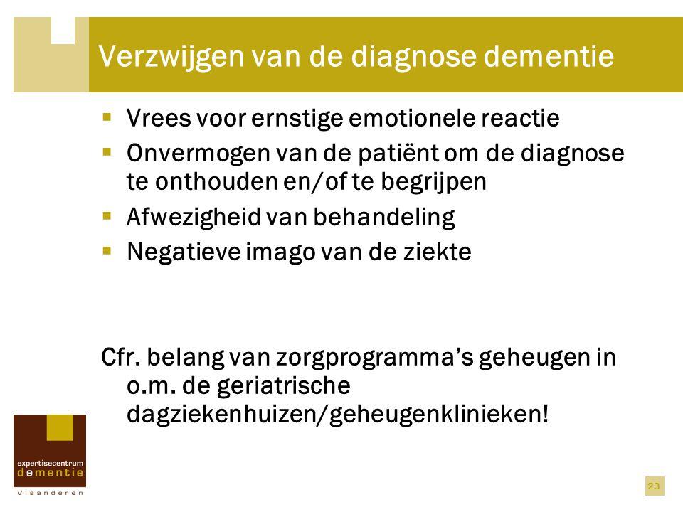 23 Verzwijgen van de diagnose dementie  Vrees voor ernstige emotionele reactie  Onvermogen van de patiënt om de diagnose te onthouden en/of te begri