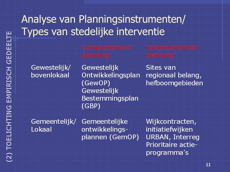 11 Analyse van Planningsinstrumenten/ Types van stedelijke interventie (2) TOELICHTING EMPIRISCH GEDEELTE