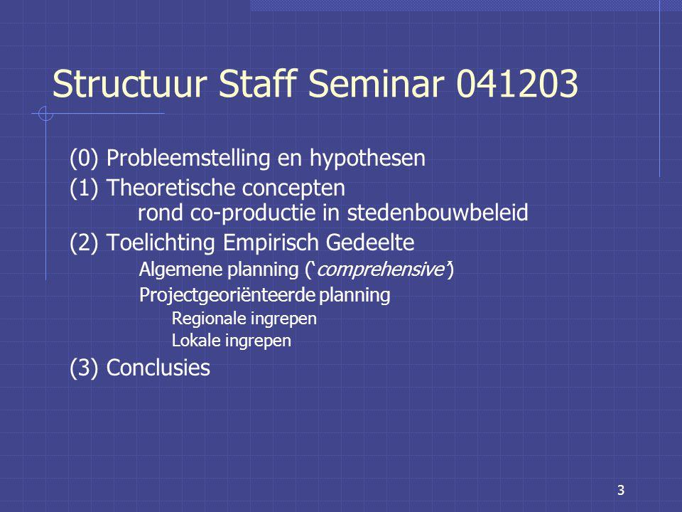 3 Structuur Staff Seminar 041203 (0) Probleemstelling en hypothesen (1) Theoretische concepten rond co-productie in stedenbouwbeleid (2) Toelichting Empirisch Gedeelte Algemene planning ('comprehensive') Projectgeoriënteerde planning Regionale ingrepen Lokale ingrepen (3) Conclusies