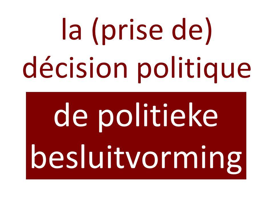 la (prise de) décision politique de politieke besluitvorming