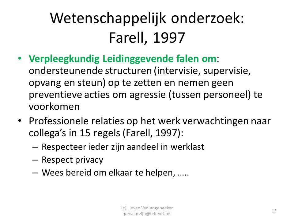 (c) Lieven Vanlangenaeker gewaarzijn@telenet.be 13 Wetenschappelijk onderzoek: Farell, 1997 Verpleegkundig Leidinggevende falen om: ondersteunende structuren (intervisie, supervisie, opvang en steun) op te zetten en nemen geen preventieve acties om agressie (tussen personeel) te voorkomen Professionele relaties op het werk verwachtingen naar collega's in 15 regels (Farell, 1997): – Respecteer ieder zijn aandeel in werklast – Respect privacy – Wees bereid om elkaar te helpen, …..