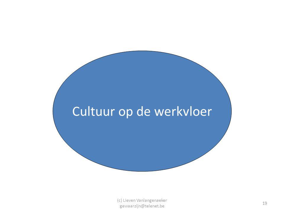 (c) Lieven Vanlangenaeker gewaarzijn@telenet.be 19 Cultuur op de werkvloer
