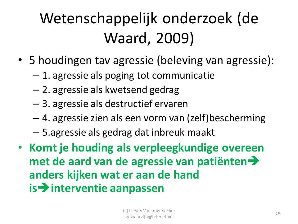 (c) Lieven Vanlangenaeker gewaarzijn@telenet.be 25 Wetenschappelijk onderzoek (de Waard, 2009) 5 houdingen tav agressie (beleving van agressie): – 1.