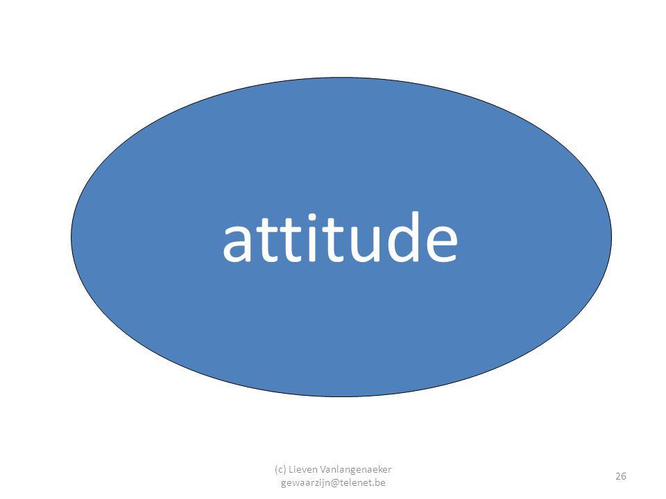 (c) Lieven Vanlangenaeker gewaarzijn@telenet.be 26 attitude