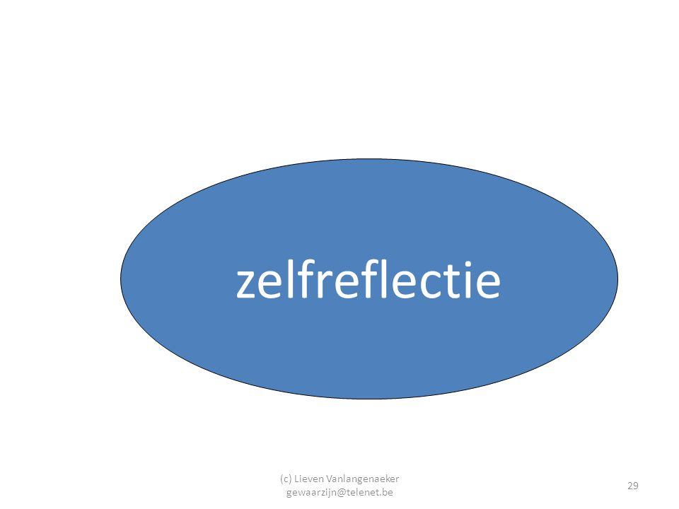 (c) Lieven Vanlangenaeker gewaarzijn@telenet.be 29 zelfreflectie