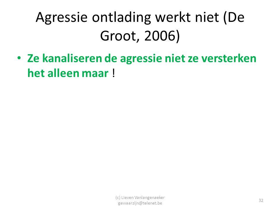 (c) Lieven Vanlangenaeker gewaarzijn@telenet.be 32 Agressie ontlading werkt niet (De Groot, 2006) Ze kanaliseren de agressie niet ze versterken het alleen maar !