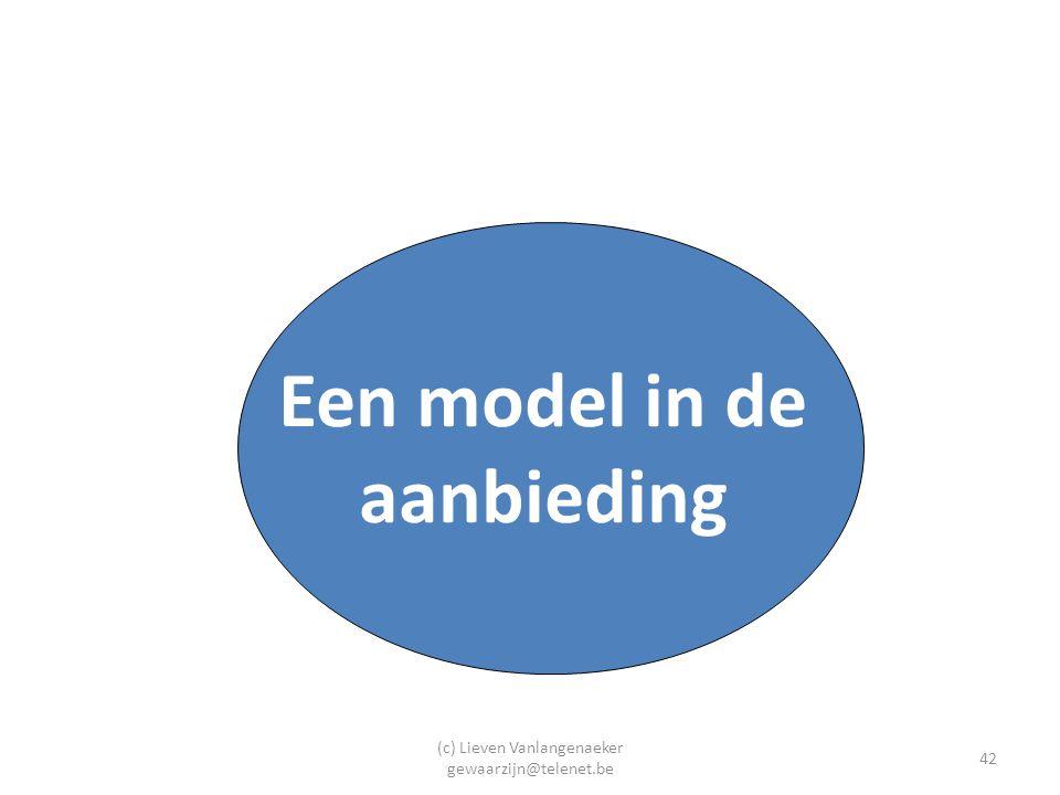 (c) Lieven Vanlangenaeker gewaarzijn@telenet.be 42 Een model in de aanbieding