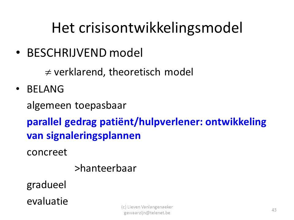 (c) Lieven Vanlangenaeker gewaarzijn@telenet.be 43 Het crisisontwikkelingsmodel BESCHRIJVEND model  verklarend, theoretisch model BELANG algemeen toepasbaar parallel gedrag patiënt/hulpverlener: ontwikkeling van signaleringsplannen concreet >hanteerbaar gradueel evaluatie