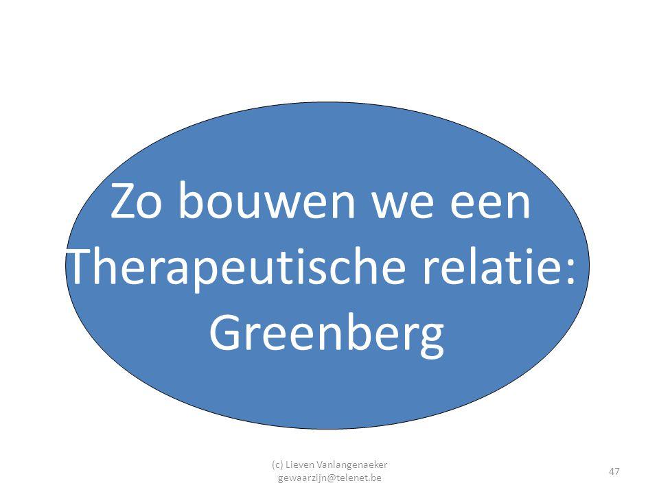 (c) Lieven Vanlangenaeker gewaarzijn@telenet.be 47 Zo bouwen we een Therapeutische relatie: Greenberg