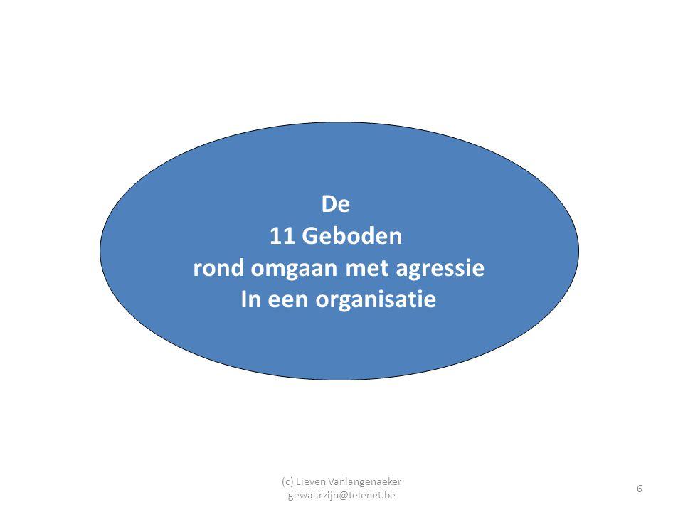 (c) Lieven Vanlangenaeker gewaarzijn@telenet.be 7 Opbouw: de 11 stappen (geboden) (Arbo, 2010, Gallant-Roman, 2008, de Waard, 2009, Spector et al., 2007) 1.Heeft u de risico's op het gebied van agressie en geweld in kaart gebracht.