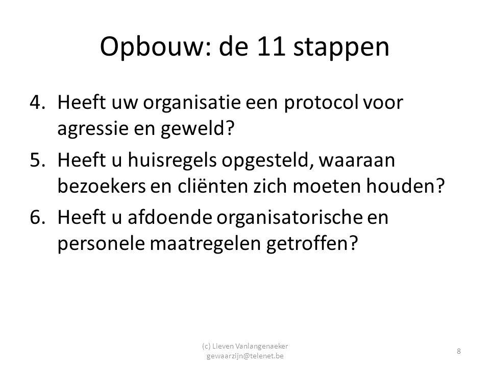 (c) Lieven Vanlangenaeker gewaarzijn@telenet.be 8 Opbouw: de 11 stappen 4.Heeft uw organisatie een protocol voor agressie en geweld.
