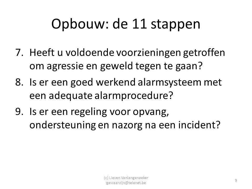 (c) Lieven Vanlangenaeker gewaarzijn@telenet.be 9 Opbouw: de 11 stappen 7.Heeft u voldoende voorzieningen getroffen om agressie en geweld tegen te gaan.