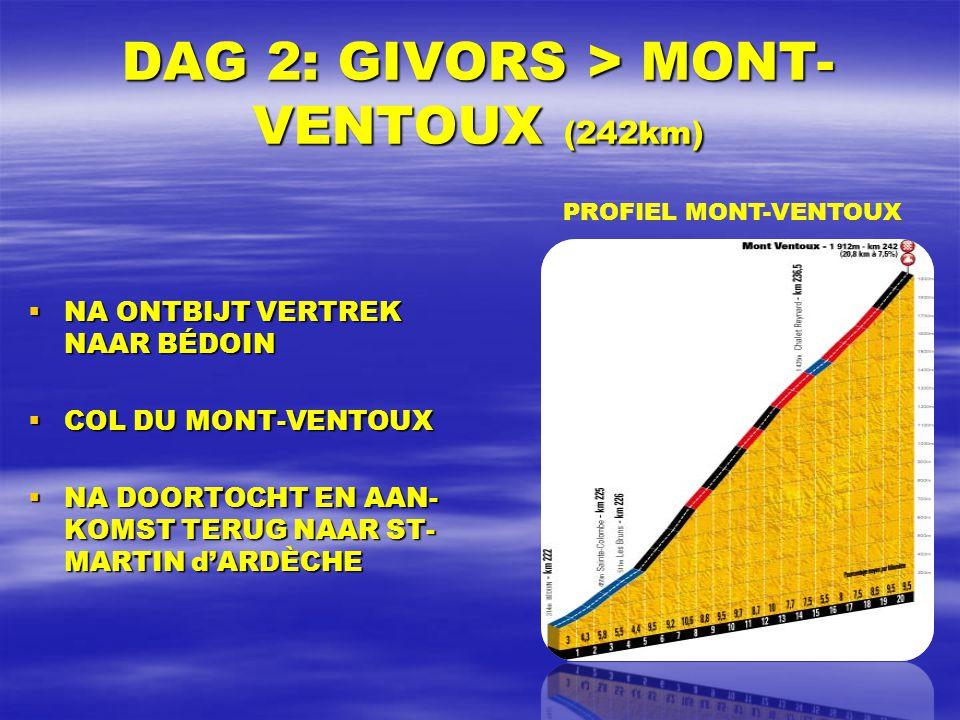 DAG 2: GIVORS > MONT- VENTOUX (242km)  NA ONTBIJT VERTREK NAAR BÉDOIN  COL DU MONT-VENTOUX  NA DOORTOCHT EN AAN- KOMST TERUG NAAR ST- MARTIN d'ARDÈCHE PROFIEL MONT-VENTOUX