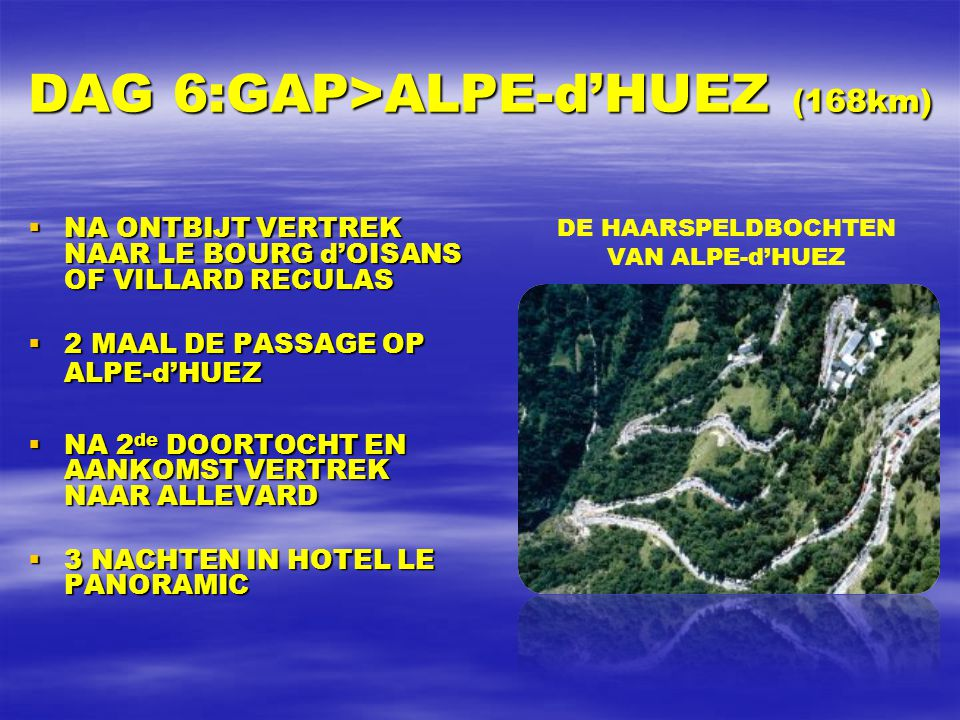 DAG 5: EMBRUN>CHORGES INDIVIDUELE TIJDRIT (32km)  NA ONTBIJT VERTREK NAAR ST-APOLLINAIRE, EEN DORP ONDERWEG BOVEN OP EEN HELLING  WE VOLGEN NA DE PAS- SAGE VAN DE LAATSTE RENNER HET VERDERE VERLOOP OP TV  DAARNA TERUG NAAR MONT-DAUPHIN VOOR ONZE 2 de EN LAATSTE NACHT ALDAAR AUBERGE DE l'ECHAUGUETTE
