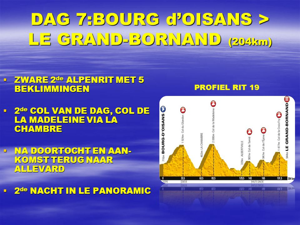 DAG 7:BOURG d'OISANS > LE GRAND-BORNAND (204km)  ZWARE 2 de ALPENRIT MET 5 BEKLIMMINGEN  2 de COL VAN DE DAG, COL DE LA MADELEINE VIA LA CHAMBRE  NA DOORTOCHT EN AAN- KOMST TERUG NAAR ALLEVARD  2 de NACHT IN LE PANORAMIC PROFIEL RIT 19