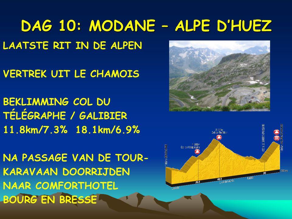 DAG 10: MODANE – ALPE D'HUEZ LAATSTE RIT IN DE ALPEN VERTREK UIT LE CHAMOIS BEKLIMMING COL DU TÉLÉGRAPHE / GALIBIER 11.8km/7.3% 18.1km/6.9% NA PASSAGE VAN DE TOUR- KARAVAAN DOORRIJDEN NAAR COMFORTHOTEL BOURG EN BRESSE