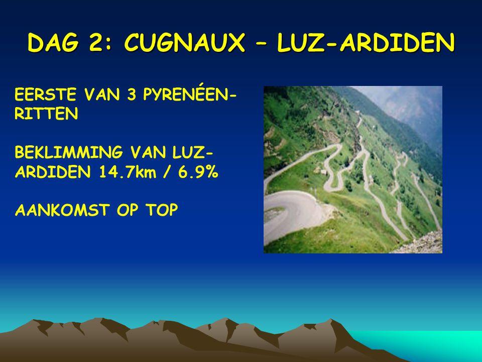 DAG 2: CUGNAUX – LUZ-ARDIDEN EERSTE VAN 3 PYRENÉEN- RITTEN BEKLIMMING VAN LUZ- ARDIDEN 14.7km / 6.9% AANKOMST OP TOP