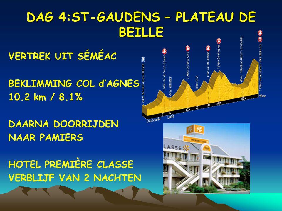 DAG 4:ST-GAUDENS – PLATEAU DE BEILLE VERTREK UIT SÉMÉAC BEKLIMMING COL d'AGNES 10.2 km / 8.1% DAARNA DOORRIJDEN NAAR PAMIERS HOTEL PREMIÈRE CLASSE VERBLIJF VAN 2 NACHTEN