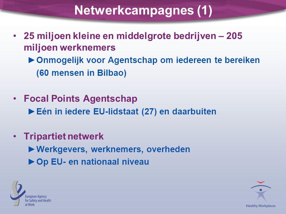 Netwerkcampagnes (1) 25 miljoen kleine en middelgrote bedrijven – 205 miljoen werknemers ►Onmogelijk voor Agentschap om iedereen te bereiken (60 mensen in Bilbao) Focal Points Agentschap ►Eén in iedere EU-lidstaat (27) en daarbuiten Tripartiet netwerk ►Werkgevers, werknemers, overheden ►Op EU- en nationaal niveau
