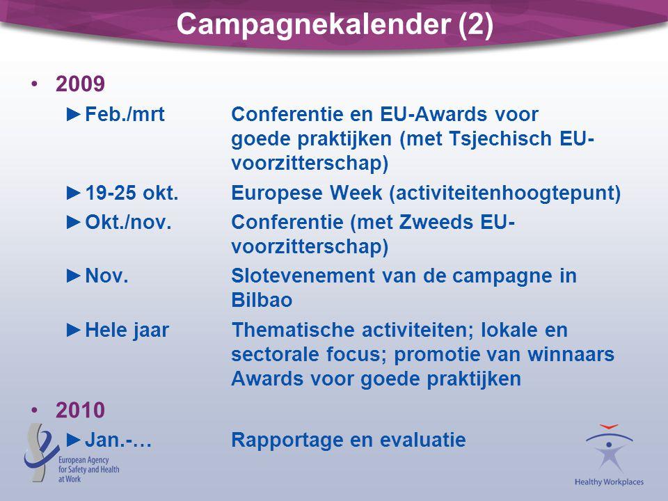 Campagnekalender (2) 2009 ►Feb./mrtConferentie en EU-Awards voor goede praktijken (met Tsjechisch EU- voorzitterschap) ►19-25 okt.Europese Week (activiteitenhoogtepunt) ►Okt./nov.Conferentie (met Zweeds EU- voorzitterschap) ►Nov.Slotevenement van de campagne in Bilbao ►Hele jaarThematische activiteiten; lokale en sectorale focus; promotie van winnaars Awards voor goede praktijken 2010 ►Jan.-…Rapportage en evaluatie